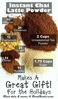 How to Make Homemade Instant Chai Tea Latte Powder- make sure to use organic sugar or if on a healing diet add the wet sweetener each time you make it~ local raw honey, pure maple syrup, stevia to taste, or hardwood-sourced xylitol can be added to the ori Yummy Drinks, Healthy Drinks, Healthy Nutrition, Healthy Eating, Cuisine Diverse, Coffee Drinks, Coffee Cafe, Coffee Shops, Coffee Mix