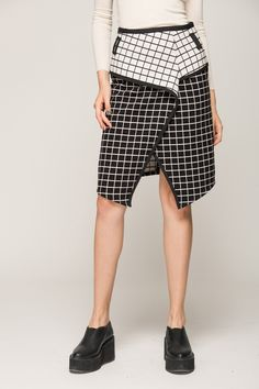 Wrapped skirt with check printing - FrontRowShop