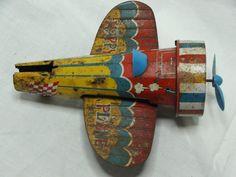 Vintage Plane Friction - Tin Toy -