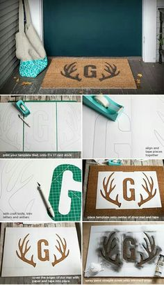 DEURMAT DIY stenciled door mat with free printable letter monogram + deer antler templates for stencils {Lia Griffith} Diy Projects To Try, Crafts To Do, Craft Projects, Diy Crafts, Craft Ideas, Stencils, Stencil Diy, Diy Cadeau, Do It Yourself Inspiration