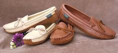 Footskins Canoe Sole Moccasins, deertan in Creme and Saddle. $69.25