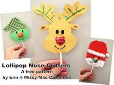 Elf, santa and reindeer lollypop