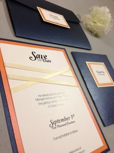 Navy blue and orange pocketfold wedding kit/set with criss cross ribbon pattern. Kit includes Invitation, Save the Date & Thank You Card