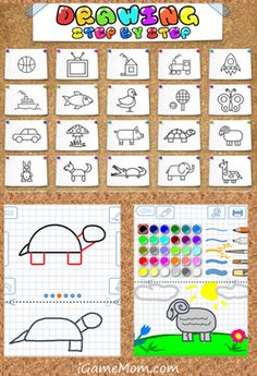 a How-to-draw app for kids with step-by-step guide of 30 pictures ($1.99 - totally worth it) #kidsapps #ArtApps