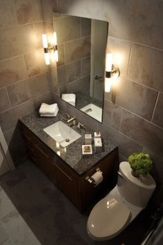 Large Tile Small Bath Design, Pictures, Remodel, Decor and Ideas - page 5 Contemporary Bathroom Lighting, Bathroom Lighting Design, Contemporary Bathroom Designs, Bathroom Design Small, Contemporary Interior Design, Bath Design, Bathroom Ideas, Tile Design, Bath Ideas