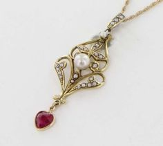 Antique Victorian Karat Yellow Gold Seed Pearl Ruby Lavalier