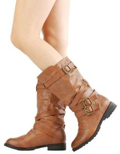 14a065e205e £29.99 Shoehorne Tina-13 - Womens Chestnut Brown Mid Calf Buckle Biker  Riding Flat Boots 1 inch heel Army - Avail in Ladies Size 3-8 UK  Amazon.co. uk  Shoes ...