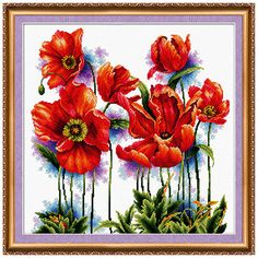 Cross stitch kit Scarlet poppys picture Free Shipping by AbrisA
