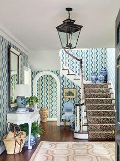 Sarah Bartholomew's Nashville home #leopard #stairrunner #blueandwhite