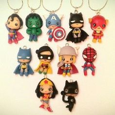 Superheroes charms/necklaces~ Polymer clay please give me all! Polymer Clay Kunst, Cute Polymer Clay, Cute Clay, Polymer Clay Dolls, Polymer Clay Projects, Polymer Clay Charms, Polymer Clay Creations, Polymer Clay Jewelry, Clay Crafts