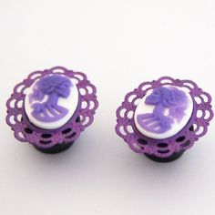 Purple on White Day of the Dead Lolita Skull Cameo  by Glamsquared, $30.00