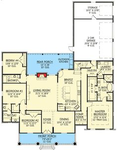 This floor plan is wonderful. Would be gorgeous with a wrap porch! Kitchen Layout, Kitchen Ideas, Computer Nook, Acadian Style Homes, Acadian House Plans, Southern House Plans, Study French, Architecture Design, Dream House Plans