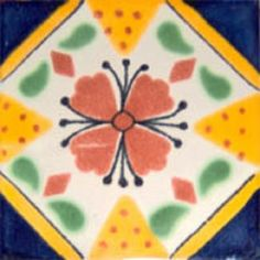 """Mexican tiles in """"Ensenada"""" style. Rustic with cobalt, yellow and terra cotta clay tile design over white background. Shipping from Mexico to the US and Canada is estimated for four weeks. White Kitchen Interior, Kitchen Themes, Kitchen Supplies, Mexican Ceramics, Clay Tiles, Tile Design, Kitchen Backsplash, Kitchen Remodel, Mexican Tiles"""
