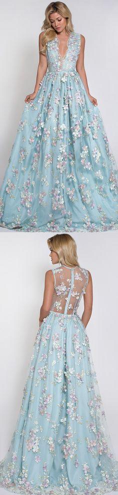 Hot Selling Deep V-neck Light Sky Blue Prom Dress with Flowers prom,prom dress,2017 prom dress,blue prom dress,long prom dress