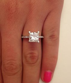 Princess cut solitaire diamond engagement ring! This is Madii speaking to all of her friends because this is what she wants.
