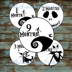 Nightmare Before Christmas Inspired Monthly Milestone Stickers for Baby's First Year! INSTANT DIGITAL DOWNLOAD! 4inch Rounds on Etsy, $4.91