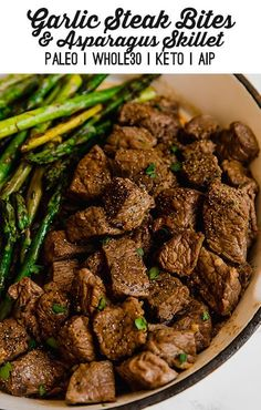 Garlic Balsamic Steak Bites & Asparagus These garlic balsamic steak bites are an easy and delicious way to enjoy steak. Serve them as an appetizer, or make it a one pan meal with asparagus or a vegetable of choice. Paleo Recipes, Whole Food Recipes, Cooking Recipes, Easy Whole 30 Recipes, Paleo Food, Healthy Steak Recipes, Cooking Food, Crockpot Recipes, Ways To Cook Steak