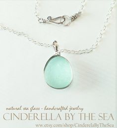 Sea Glass, Genuine Sea Glass, Sea Glass Necklace - Aquamarine English Sea Glass in Handmade Sterling Silver Necklace by CinderellaByTheSea on Etsy Sea Glass Necklace, Sea Glass Jewelry, Pendant Necklace, Handmade Sterling Silver, Sterling Silver Necklaces, Jewelry Photography, Timeless Beauty, Precious Metals, Turquoise Necklace