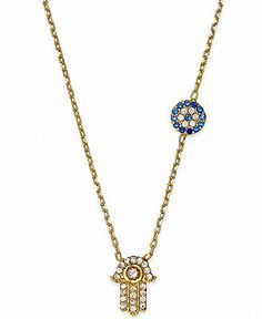 Studio Silver Crystal Hamsa and Evil Eye Necklace in 18k Gold over Sterling Silver - Necklaces - Jewelry & Watches - Macy's
