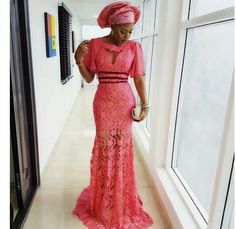 Aso Ebi Styles With This Trending Lace Designs-amillionstyles African Lace, African Wear, African Fashion, African Outfits, African Style, Nigerian Fashion, African Attire, Kente Styles, Aso Ebi Styles