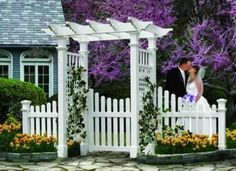 "Cottage Gate 45 In Opening by New England Arbors. $299.00. Cottage Picket Gate Adds Beauty and Function to Your Arbor Enhance the beauty and elegance of your arbor with a New England Arbors high quality and maintenance free Cottage Gate. Practical, yet charming, our gate is a great way to say welcome to your friends and loved ones. Made of premium weather-resistant vinyl, the Cottage Picket Gate is virtually maintenance free, you won't have to stain or paint it. 45"" Gate Measures..."