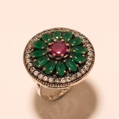 Ottoman Turkish Burmese Ruby, Emerald Gemstone Sterling Silver Ring Fine Jewelry #Handmade