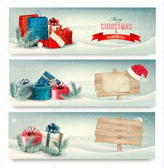 Christmas Winter Banners with Presents. Vector. #jpg #image #cold #forest • Available here → https://graphicriver.net/item/christmas-winter-banners-with-presents-vector-/6434362?ref=pxcr