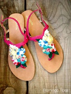 Cute idea. Love that it's temporary and can be moved to another pair.... Summer Sandal Refashion » Flamingo Toes