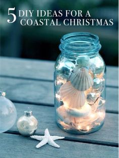 DIY mason jar craft ideas always make for a surprise! DIY maritime decoration with shells and fairy lights DIY mason jar craft ideas always make for a surprise! DIY maritime decoration with shells and fairy lights Seashell Crafts, Beach Crafts, Diy Crafts, Seashell Projects, Beach Themed Crafts, Christmas Mason Jars, Christmas Crafts, Christmas Decorations, Wedding Decorations