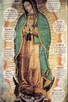 The amazing details of the Our Lady of Guadalupe image.