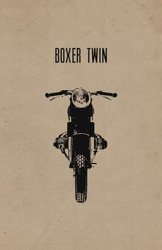"""Limited Edition """"Boxer Twin"""" Cafe Racer Motorcycle Poster on 100% Recycled Card Stock (11x17 in)"""