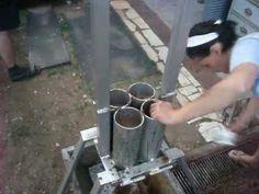 Homemade briquette press / racna presa za briketi - YouTube