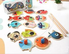 Agooding Magnetic Fishing Playset with 14 Fishes and 2 Poles -- More info could be found at the image url. Note:It is Affiliate Link to Amazon.