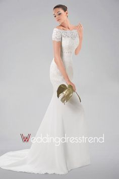 Glamorous Ruched Sashed Sheath Lace Wedding Dress