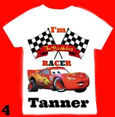 2b36059d2 Cars Birthday Boy T- Shirts with the name age personalized  12Months,18Months,2T