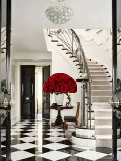 Gorgeous Entry hall, I photo shopped the red roses in to give it the wow factor!
