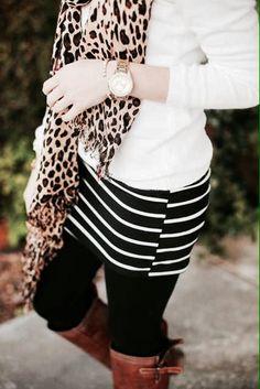 White long sleeve + leopard scarf + black an white skirt + black legging + casual boots