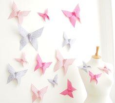 Origami Butterfly Wall Decor for Nursery Bedroom - 15 Cotton Butterflies, bY Mi via Folksy, £115.00