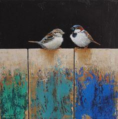 Monica Goetze Art oil 40 x40 Gold Leaf Art, Gold Art, Illustrations, Illustration Art, Feuille D'or, Bird Artwork, Street Art, Art Techniques, Art Oil
