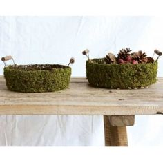 Moss Basket With Wood Handles- For Easter
