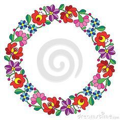 Kalocsai Embroidery In Circle - Hungarian Floral Folk Pattern Stock Vector - Illustration of decoration, culture: 51322504 Hungarian Embroidery, Folk Embroidery, Learn Embroidery, Chain Stitch Embroidery, Embroidery Stitches, Embroidery Patterns, Folk Art Flowers, Flower Art, Embroidery Techniques