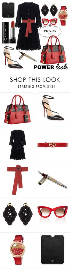 """""""POWERFUL COLORS"""" by tinagarrison ❤ liked on Polyvore featuring Prada, Christian Louboutin, Theory, Gucci, Dolce&Gabbana, Tibaldi, Anna e Alex, Thierry Lasry and Versace"""