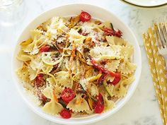 Pasta Primavera Recipe : Giada De Laurentiis : Food Network - FoodNetwork.com possible use red pepper flakes and garlic to add flavor as some of the comments. Also roasting the tomatoes halfway through with the other veggies