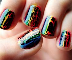 I painted my nails in a rainbow pattern and used OPI Black Shatter on top with a top coat of Seche Vite to finish it off. Very easy to do! Rainbow and Black Shatter Get Nails, Love Nails, How To Do Nails, Pretty Nails, Hair And Nails, All Things Beauty, Girly Things, Crackle Nails, Nail Art Pictures