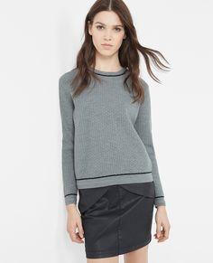 Contrast trim jumper 84% Wool  VEORIE - Colour GRIS CHINE