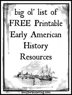 Early American History Printable Resources - Amy's Wandering