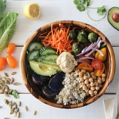 Nourish Bowl is a nutrient dense vegan salad bowl consisting of protein, healthy fats, and carbohydrates- perfect meal in a bowl.