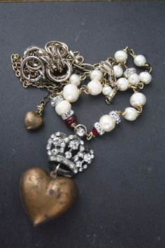 Ex Voto Necklace Vintage Heart crown Pearl Rosary OOAK