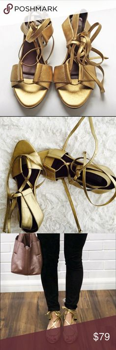 Carlota denim Studio Colombia shoes sandals gold 8 Matte leather strappy sandals block heel 8.5 very comfy used twice like new Carlota Shoes Sandals