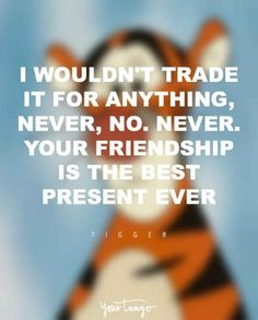 """I wouldn't trade it for anything, never, no. Your friendship is the best present ever."" -Tigger"